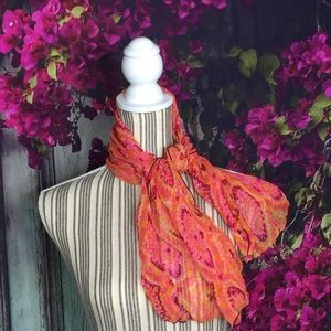Pure silk scarf vibrant colors curled edges